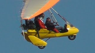 Santa arriving with an Ultralight Trike at R/C Airfield! Low pass & Shortfield Landing