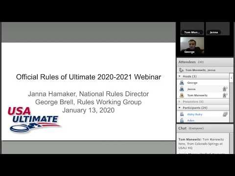 Video Thumbnail: STAR Webinar: Official Rules of Ultimate 2020-2021