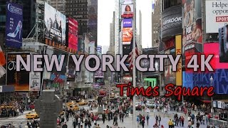 Ultra HD 4K New York City Travel Times Square US Tourism Busy Street Traffic UHD Video Stock Footage