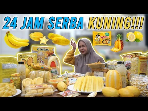 Download Video 24 JAM MAKAN YANG WARNA KUNING TERBANYAK SEINDONESIA!!! 🍋