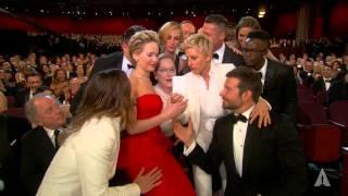 Ellen DeGeneres takes a selfie at the Oscars
