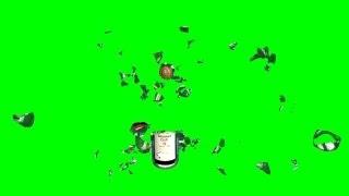 bottle breaks - green screen effect