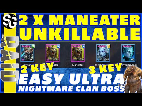 RAID SHADOW LEGENDS | 2X MANEATER UNM CB UNKILLABLE EASY 2KEY|3KEY