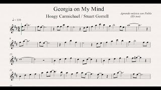 GEORGIA ON MY MIND: Eb Inst (saxo alto, saxo barítono...) (partitura con playback)