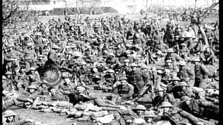The London Stock Exchange Battalion resting on on their way to Arras in World War...HD Stock Footage