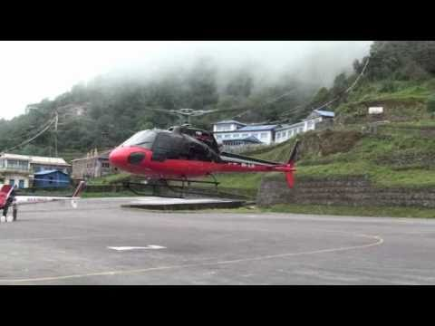Flying into the Nepal airport at Lukla by helicopter
