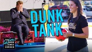 Carli Lloyd Kicks Soccer Balls at Dunk Tank
