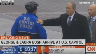 George & Laura Bush at U.S Capitol For Donald Trump Inauguration 1/20/17
