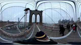 Walking across the Brooklyn Bridge - 4K 360 ° video - 2019, January 19 Unedited Real Sounds