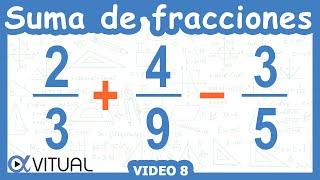 Suma y resta de 3 fracciones con diferente denominador   Aritmética - Vitual