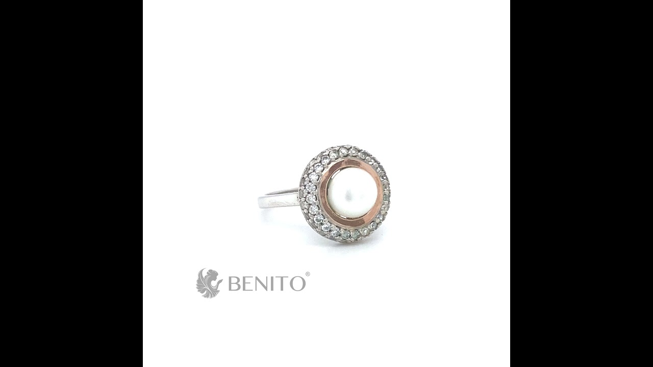 Luciana Ring Pearl and White Zircon Stones