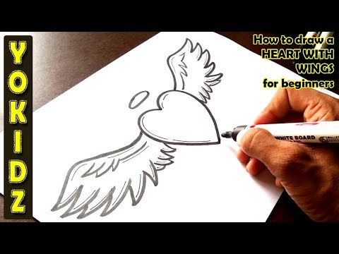How to draw a HEART WITH WINGS for beginners