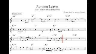 Chet Baker 'Autumn Leaves' Trumpet Solo Transcription