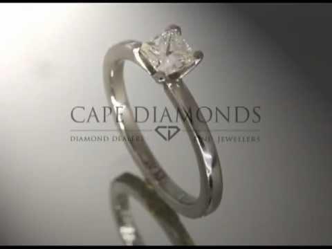 Princess cut,diamond,plain band,platinum,engagement ring