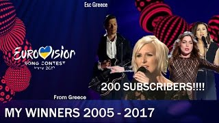 200 SUBSCRIBERS!!!!!!! - My Winners 2005 - 2017 [Eurovision]