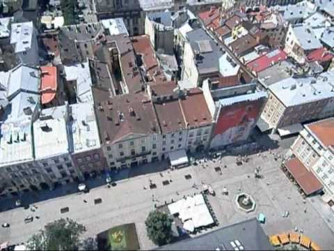 View of Lviv, Ukraine from City Hall Bell Tower