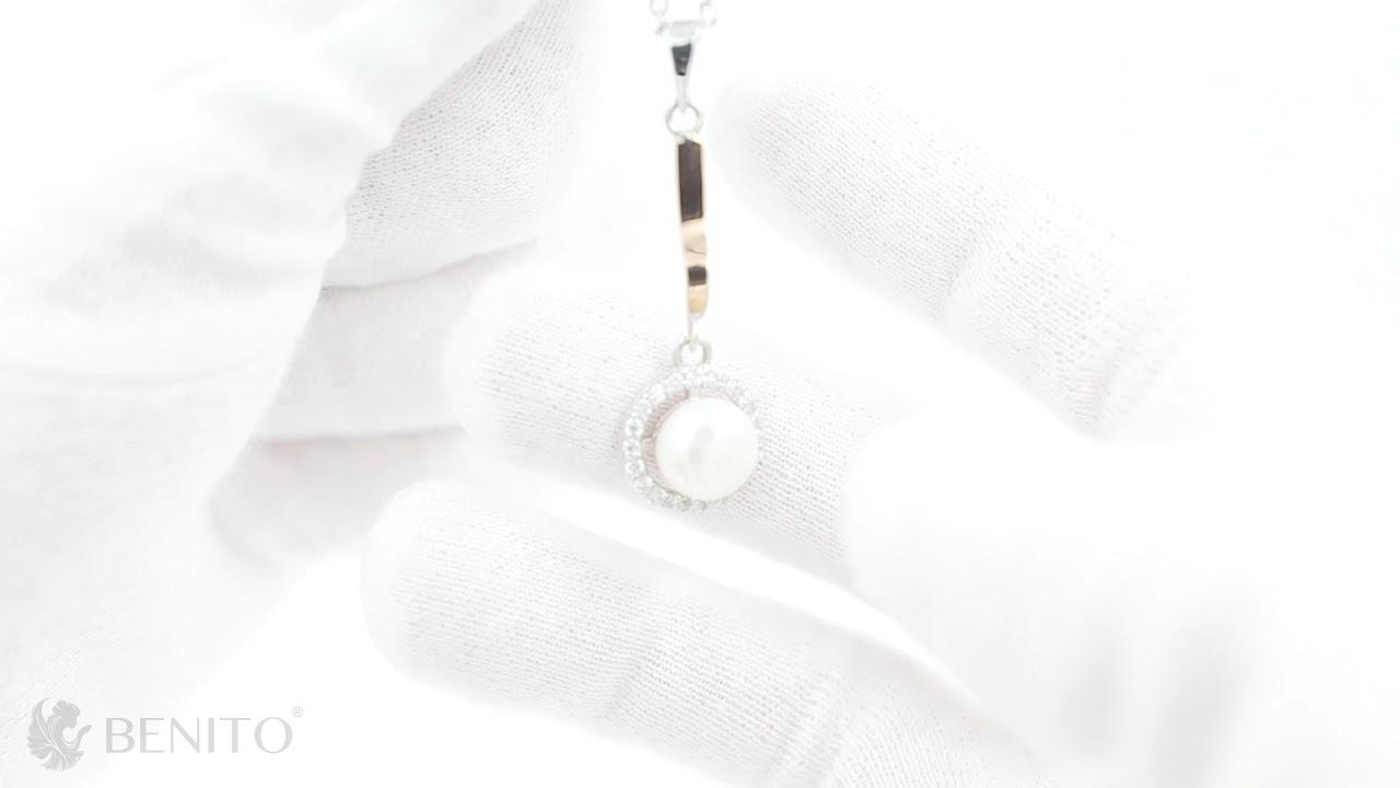 Romina Pendant White Pearl and Zircon Stones