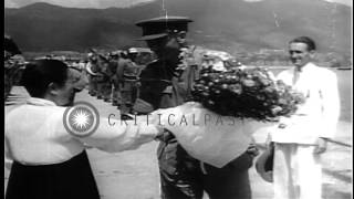 British troops arrive in HMS Unicorn to Korea during Korean War. HD Stock Footage