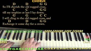 The Old Rugged Cross (HYMN) Piano Cover Lesson in G with Chords/Lyrics