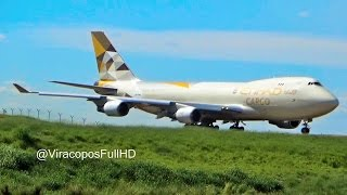 Decolagem 747-400F Etihad Cargo VCP-SBKP