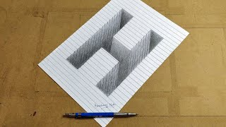 Drawing Letter H | 3D Pencil Drawing | Line Paper