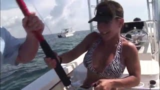 Small Girl Muscles up Huge Goliath Grouper