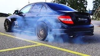 Mercedes C63 AMG Sound V8 6.2L Acceleration 0-200 Autobahn Onboard BURNOUT