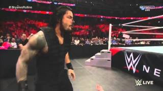 ROMAN REIGNS SPEAR THE BIG SHOW AND SUPERMAN PUNCH ROLLINS