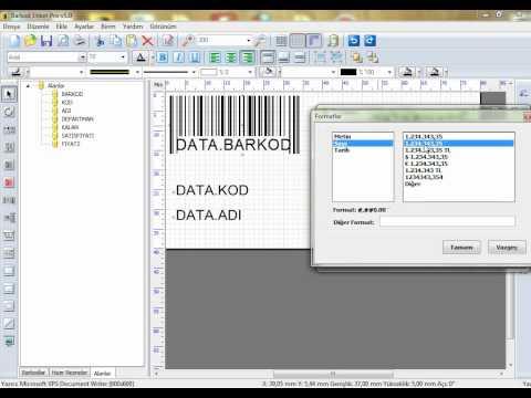 Barkod etiket Programı Yeni TL simgesi ekleme