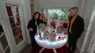 Set of 3 Illuminated Iced Glass Cone Trees by Valerie on QVC