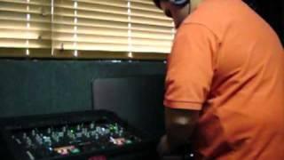"DJ Jorge Ojeda mixing on the Midday Show with ""El Chichi"" Carlos Jose"