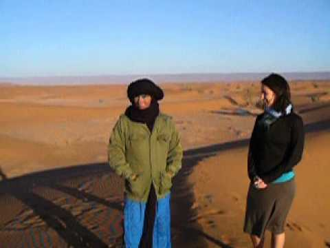 Erin in Morocco – chatting with my friend Bobo, in the Sahara