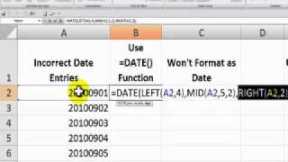 Use Text to Columns in Excel to Correct Date Entries