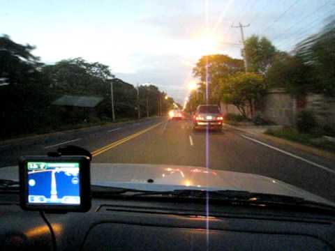 Driving at night Nicaragua using Garmin GPS Map Central America Costa Rica iPhone GPS