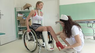 Poor Betty in a Wheelchair with Milwaukee Brace and Leg Cast! ♿