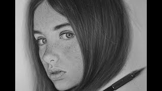Drawing A Female Portrait With Mechanical Pencil