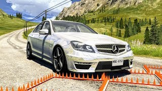 Massive Spike Strip Pileup Crashes #9 – BeamNG Drive | CrashBoomPunk