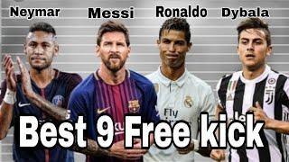 Messi vs Ronaldo vs Neymar vs Dybala Top 9 free kick || by SOCCER GODS