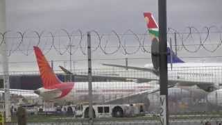 vid105 Crosswind landings Air India 787  etc Heathrow Airport plane spotting 15nov15 152p