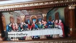 Relief perjamuan kudus bahan kayu jati full colour
