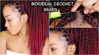 INDIVIDUAL, NO CORNROW CROCHET RED OMBRE SENEGALESE TWISTS | BEGINNER FRIENDLY DIY