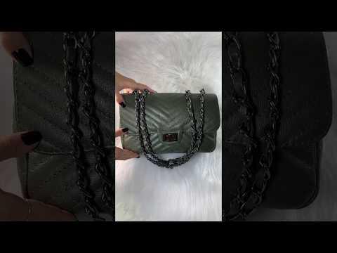 BOLSA VERSALHES MÉDIA Bolsa de corrente em couro legítimo verde militar matelassê chevron