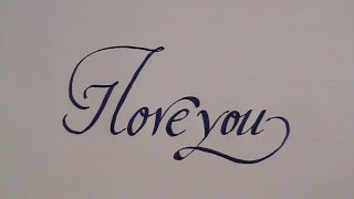how to write in cursive - calligraphy letters I love you - for beginners
