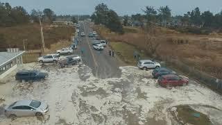 "Storm Surge - High Tide - Ocean Park, Wa Beach Approach ""Cars Scrambling"" Today 1-18-2018"