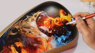 Painting Lion Fire / Airbrush Real Fire