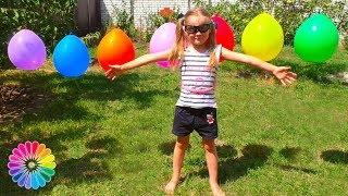 Funny Baby Masha Playing with Color Painting Balloons Outdoor Playground for Kids by FunToysShow