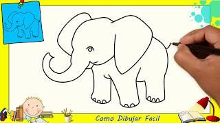 Como dibujar un elefante FACIL paso a paso para niños y principiantes 2