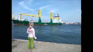 Girl Honks at Ship