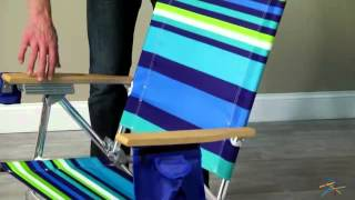 2 Rio Ripcurl Stripe Hi-Boy Beach Chairs + 1 Blue Umbrella and 1 Anchor - Product Review Video