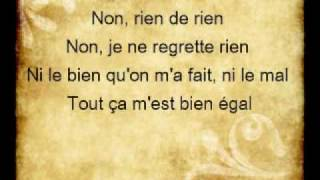 Non, Je Ne Regrette Rien (Lyrics) - Edith Piaf